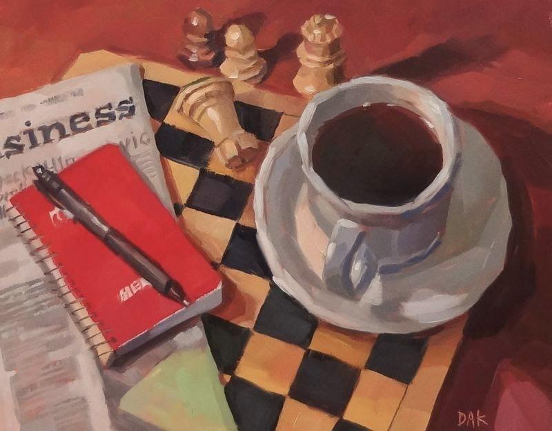 """The Game"" original fine art by Deborah Ann Kirkeeide"