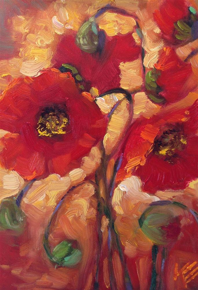 """Poppies I"" original fine art by Krista Eaton"