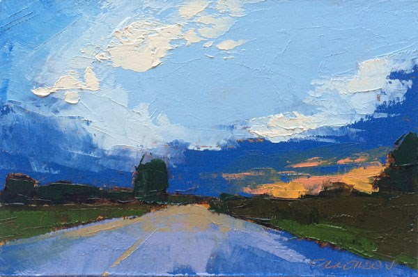 """Highway, Summer Sunset"" original fine art by Mary Gilkerson"