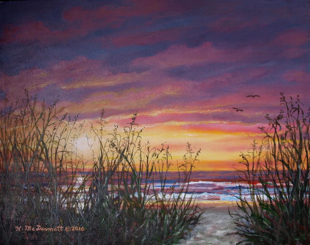 """""""Sea Oat Sunrise (C) 2016 by K. McDermott"""" original fine art by Kathleen McDermott"""