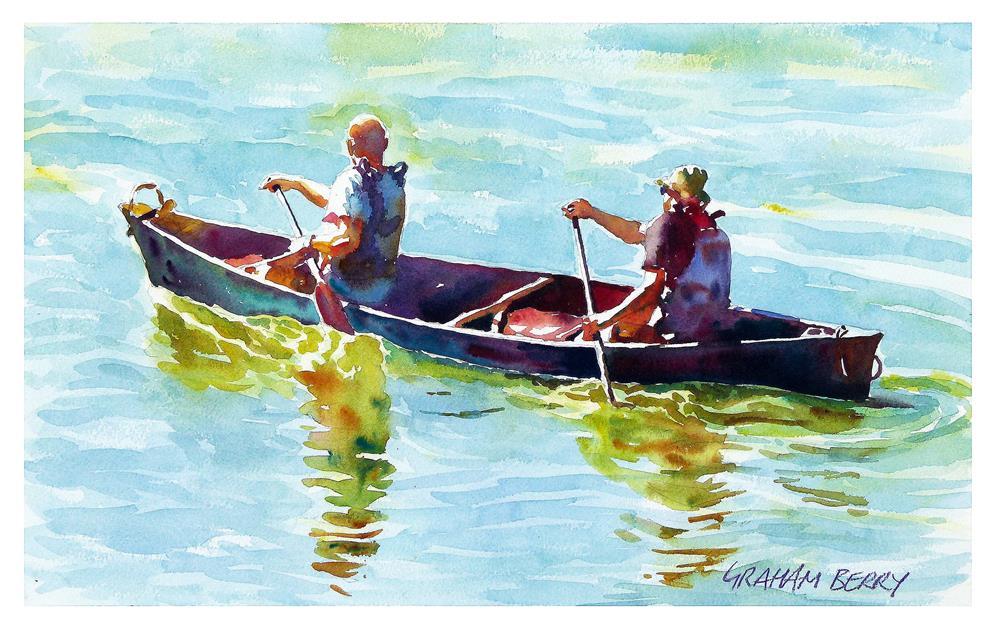 """Men in a canoe"" original fine art by Graham Berry"