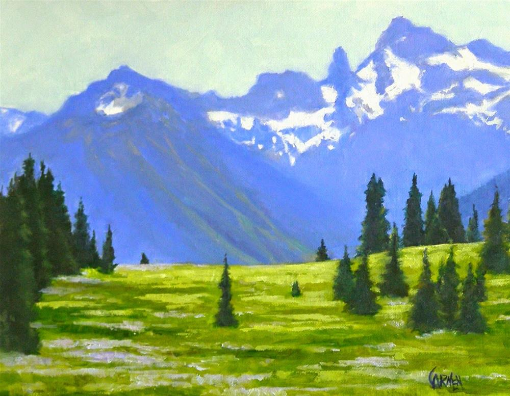 """Rainier Meadow, 10x8 Oil Landscape Painting on Canvas Panel"" original fine art by Carmen Beecher"