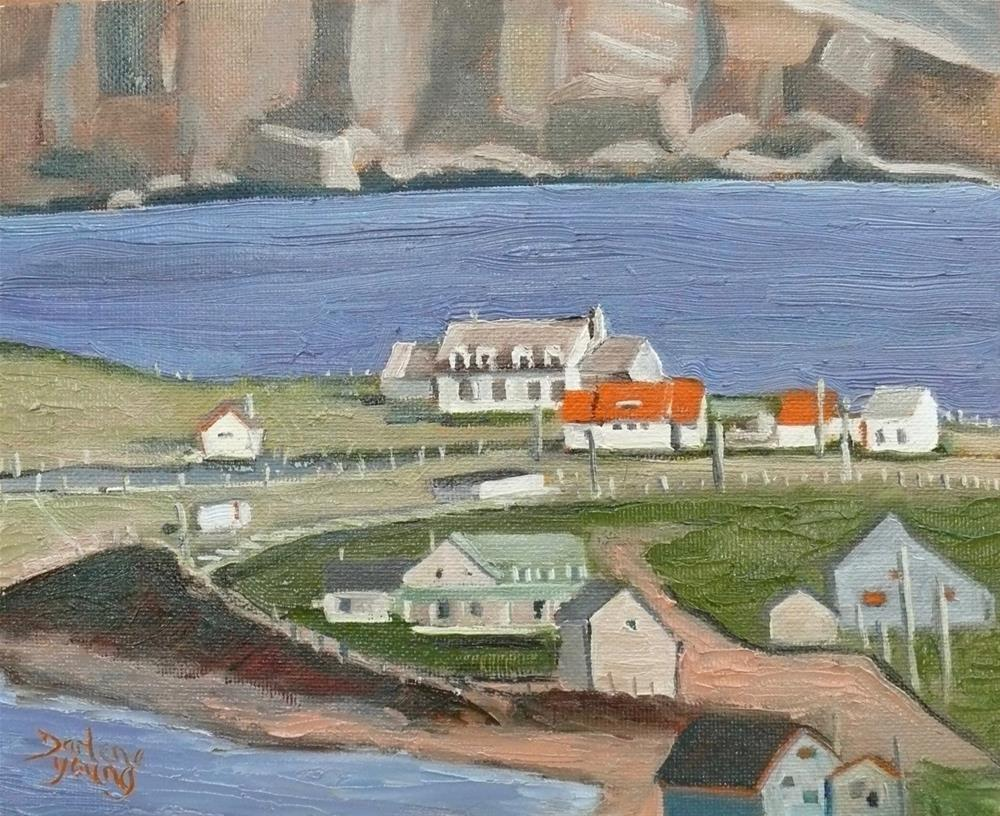 """1121 Sheltered by the rock, Gaspe Coast, 8x10, oil"" original fine art by Darlene Young"