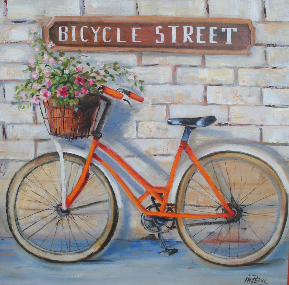 """Bicycle Street"" original fine art by Nan Perry"
