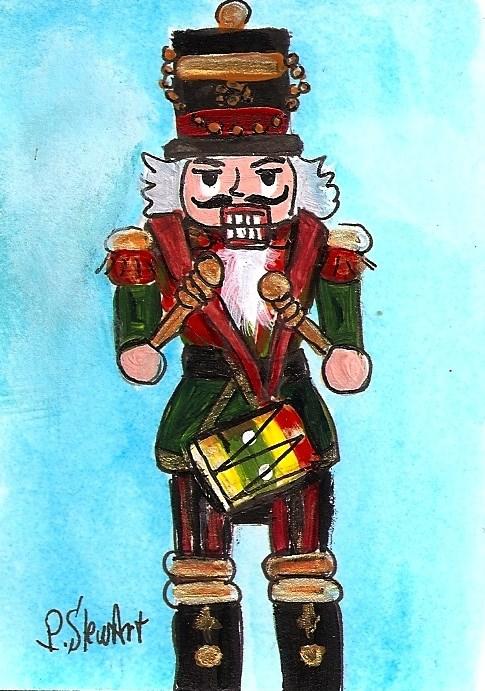 """ACEO Nutcracker Painting Drummer 205 Xmas Original Acrylic SFA Penny StewArt"" original fine art by Penny Lee StewArt"