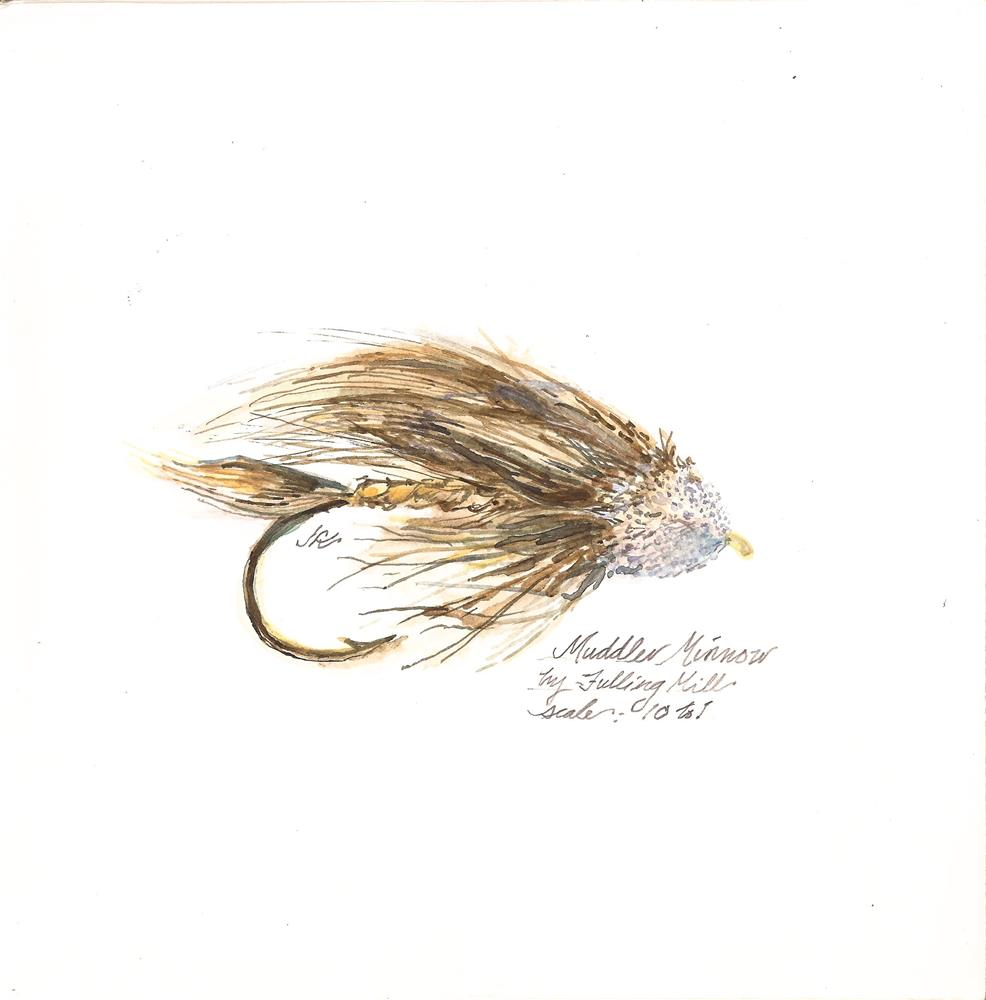 """Muddler Minnow - Trout fly"" original fine art by Jean Krueger"