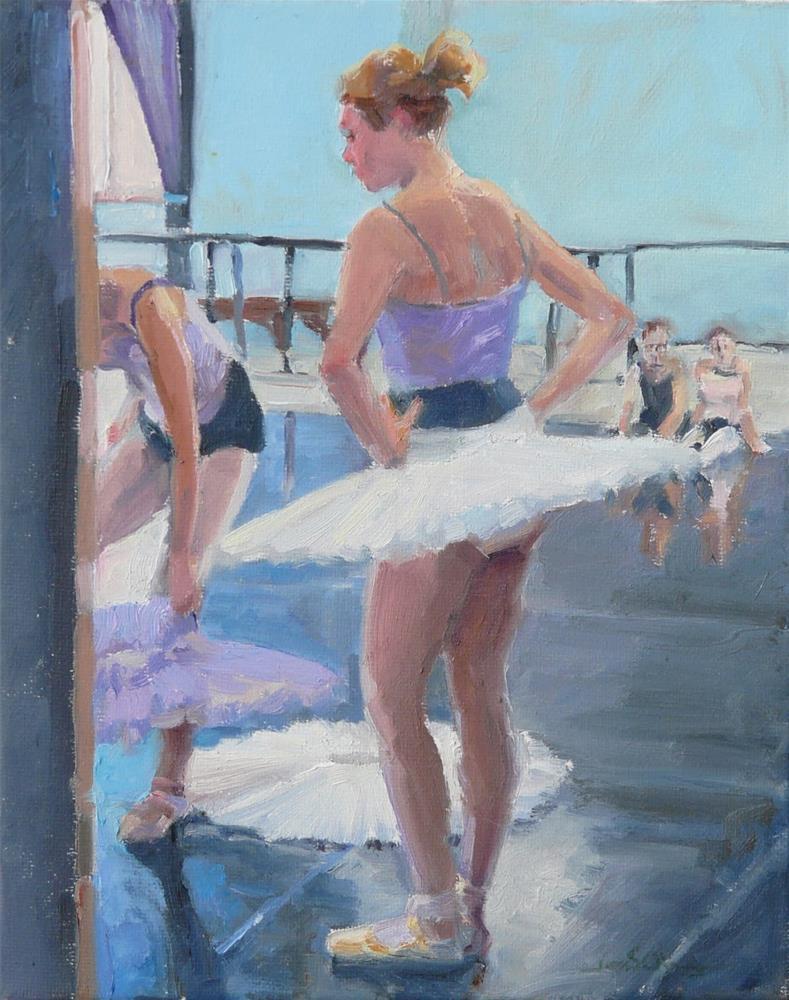 """Costume Change,figures,oil on canvas,12x9,price$750"" original fine art by Joy Olney"