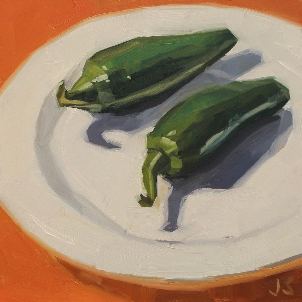 """Two Jalapenos on a Plate"" original fine art by Jamie Stevens"