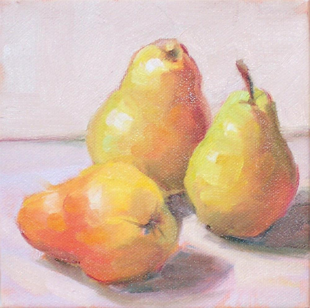 """Pears 3,still life,oil on canvas,6x6,price$200"" original fine art by Joy Olney"