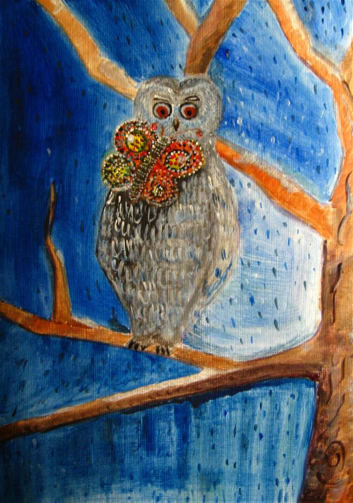 """Owl Going Out"" original fine art by Alina Frent"