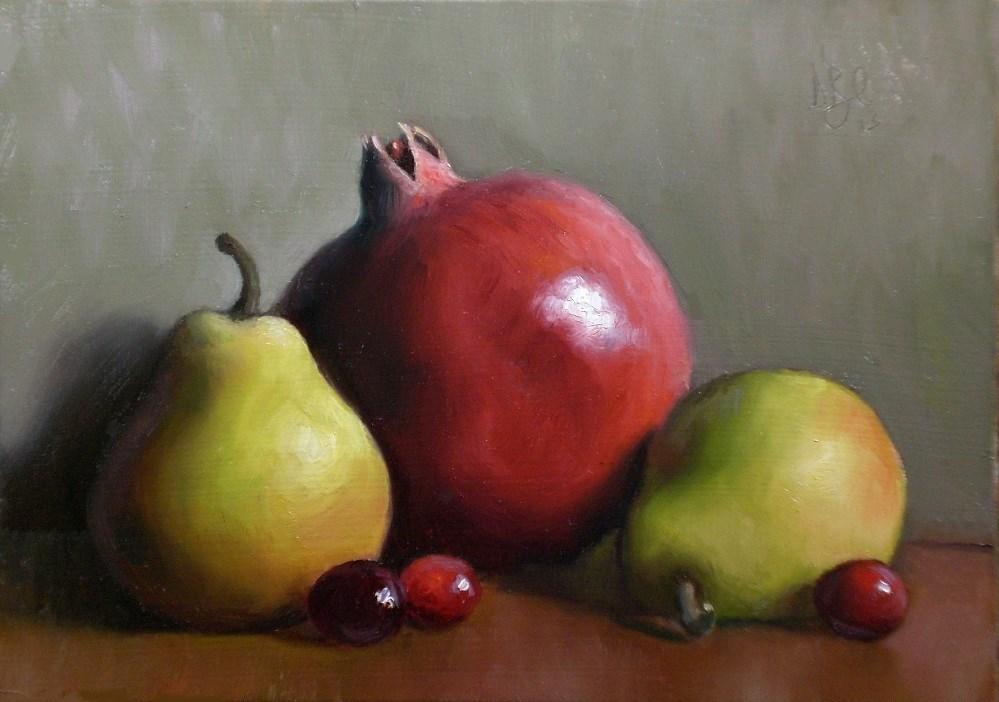 """Pomegranate with Pears"" original fine art by Debra Becks Cooper"