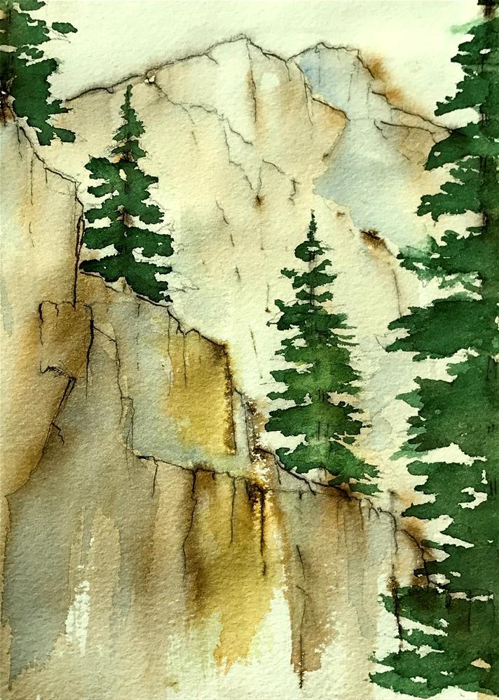 """evergreens on the cliff"" original fine art by Betty Argiros"