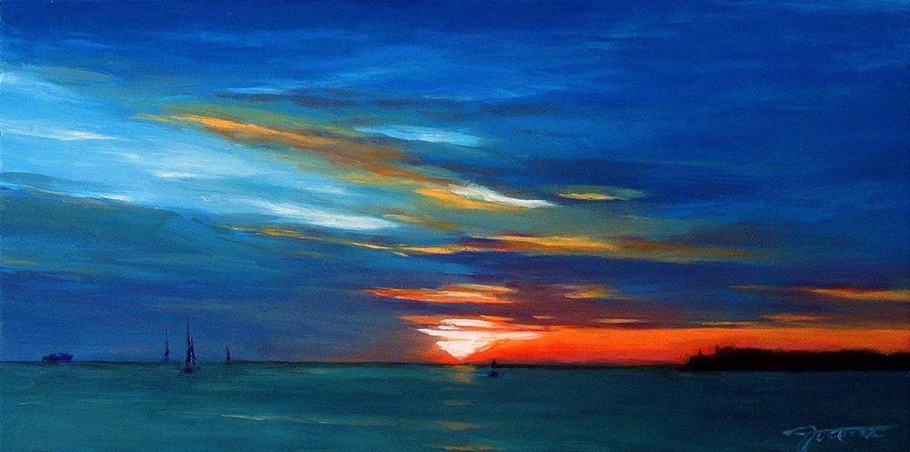 """Sunset At Key West--Tropical Sunset Landscape"" original fine art by Joanna Bingham"