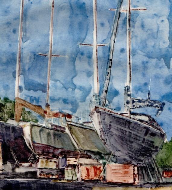 """Monotype: Boatyard (& spring art festivals & #linklove)"" original fine art by Belinda Del Pesco"