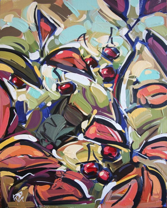 """Autumn Berry Abstraction 28"" original fine art by Roger Akesson"