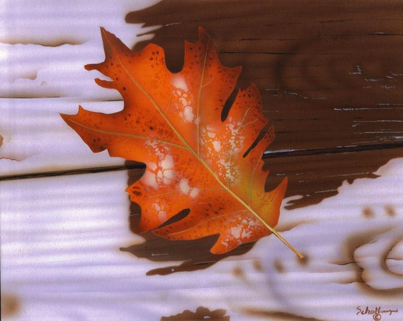 """Autumn Leaf (Rainy Afternoon)"" original fine art by Fred Schollmeyer"