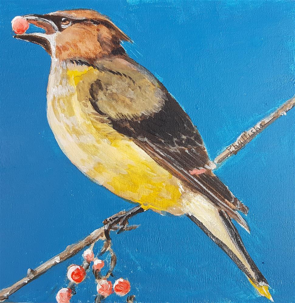 """Cedar Waxwing"" original fine art by Phyllisha Hamrick"