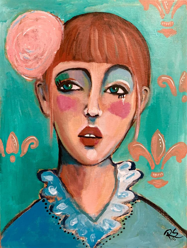 """#11 The Fleur-de-Lis Girl"" original fine art by Roberta Schmidt ArtcyLucy"