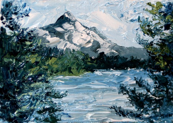 """""""Mark Adam Webster -  Mt. Hood Palette Knife Oil Painting"""" original fine art by Mark Webster"""