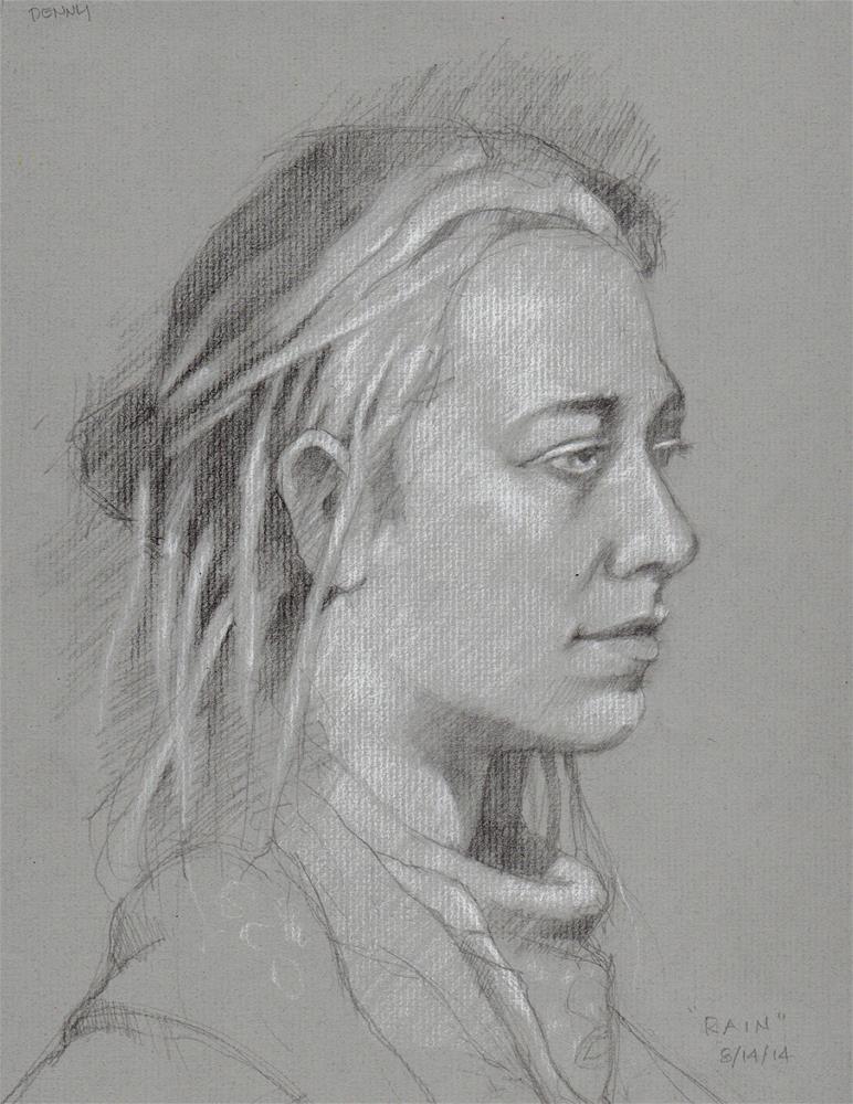"""Rain homeless"" original fine art by Marlene Lee"