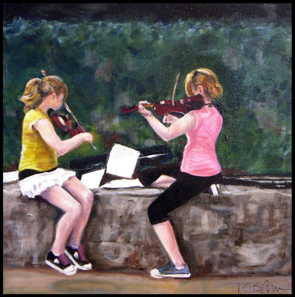 """Violin Girls"" original fine art by Kathy Broyles"