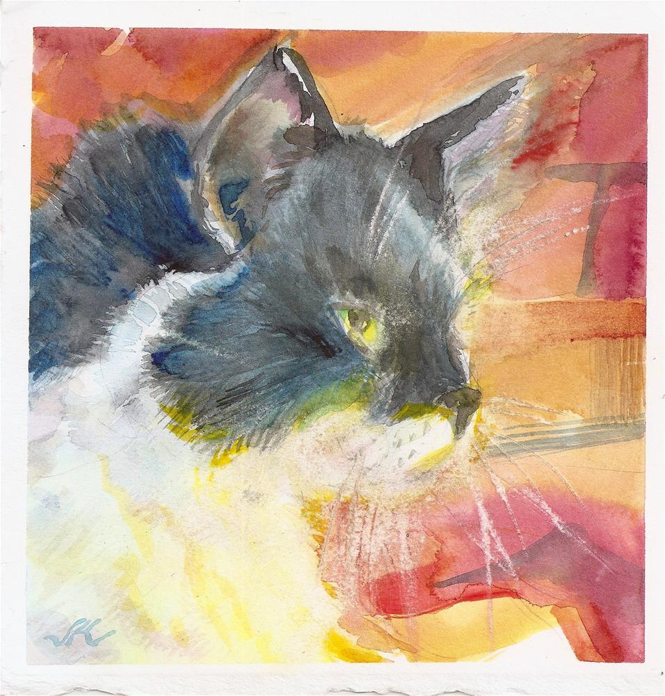 """""""Fireside Cat"""" original fine art by Jean Krueger"""