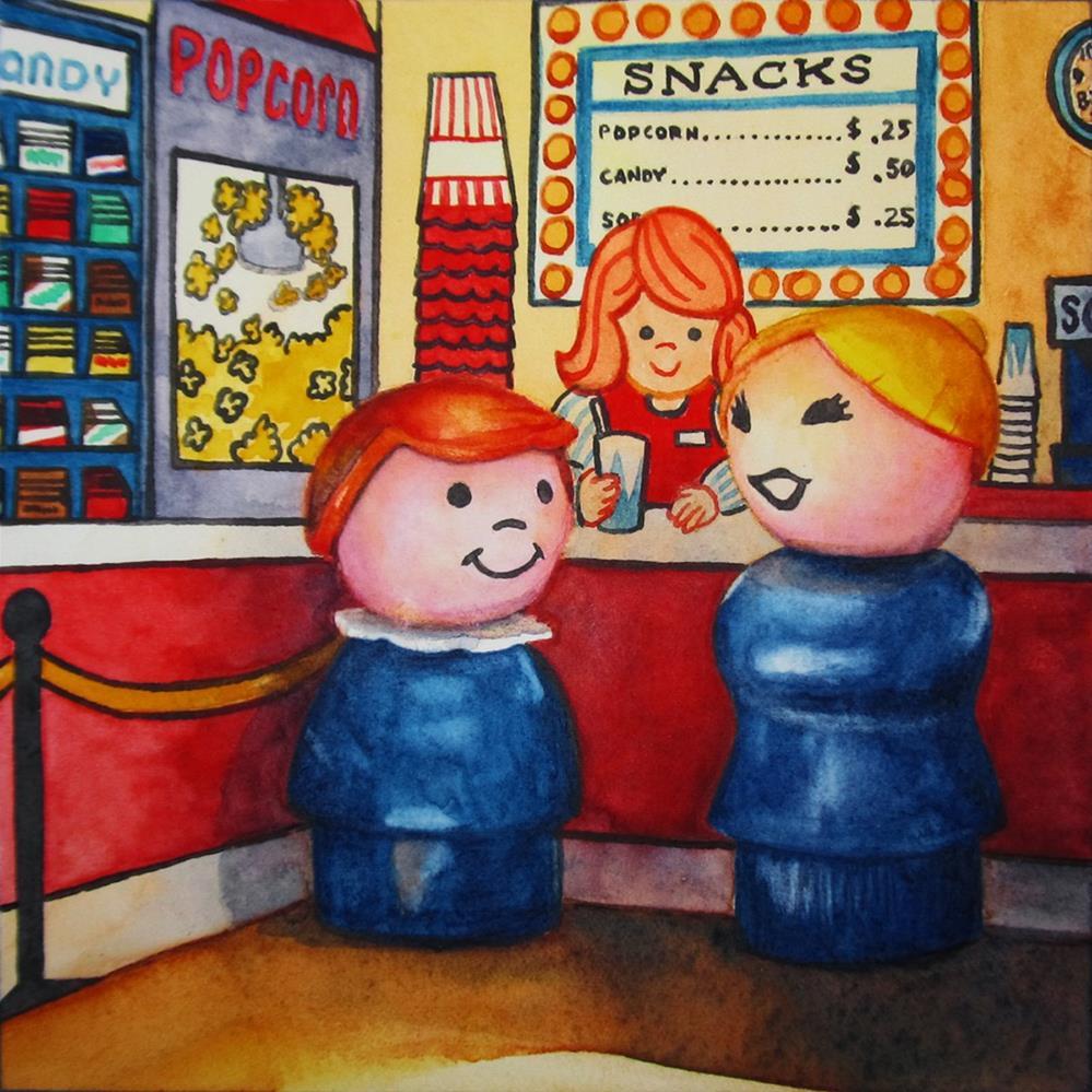 """Two Popcorns, Two Sodas"" original fine art by Kara K. Bigda"