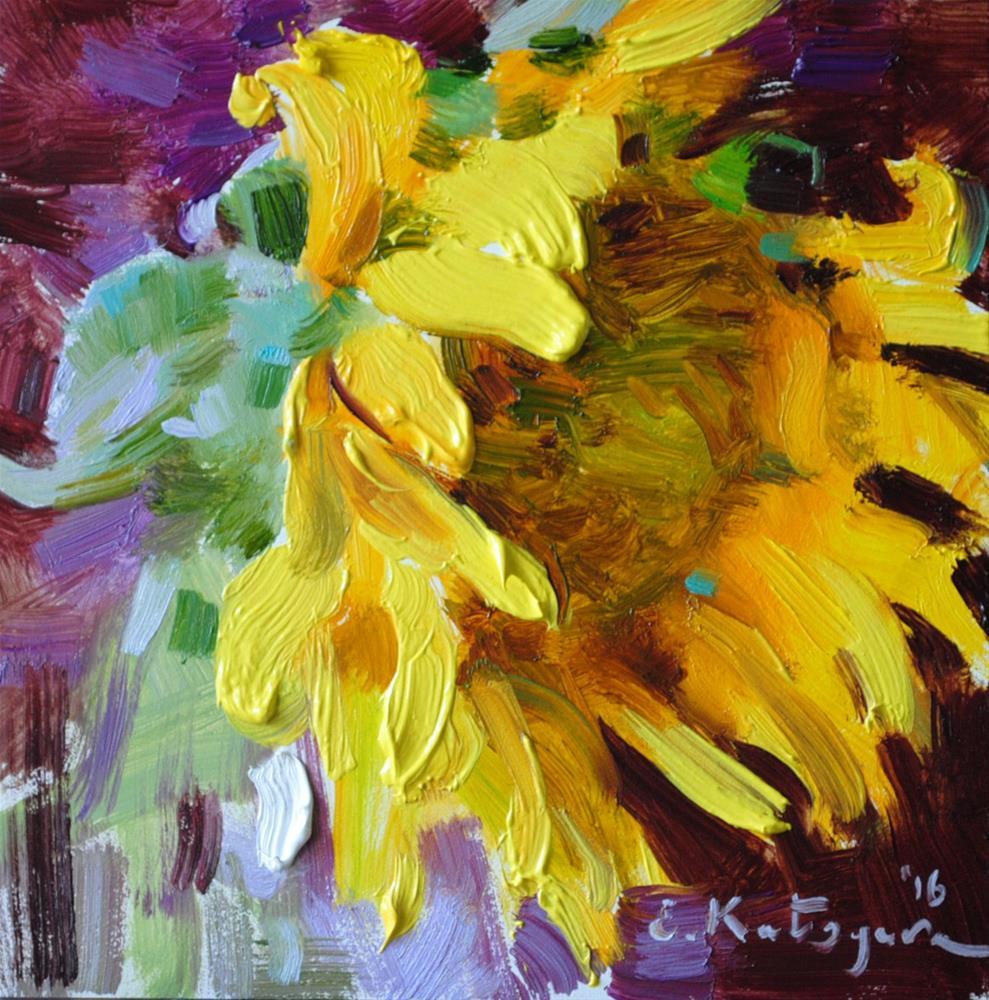 """Sunflower on Purple"" original fine art by Elena Katsyura"