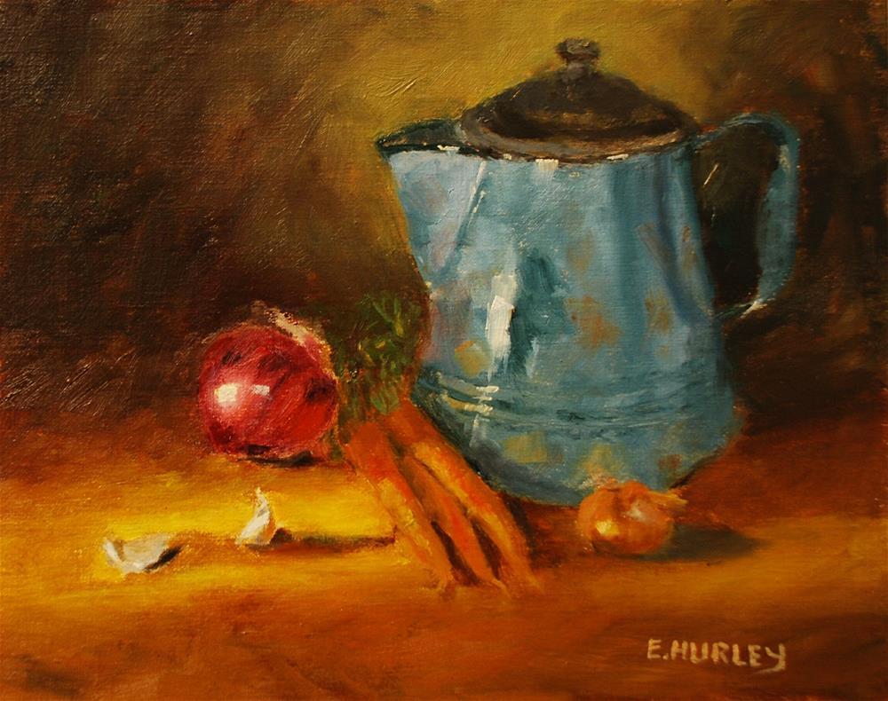 """""""Blue Kettle"""" original fine art by Ellen Hurley"""