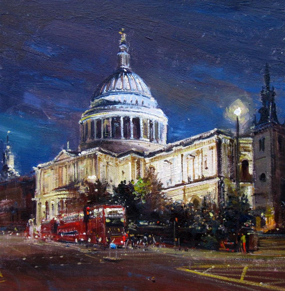 """St Pauls at Night"" original fine art by Adebanji Alade"