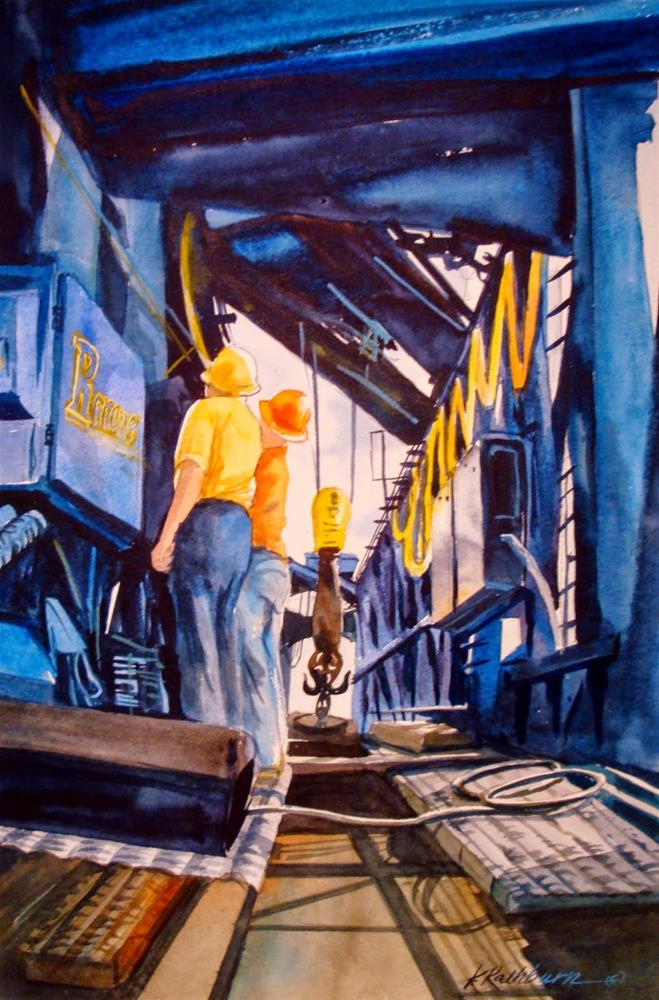 """I've Been Working on the R-Crane"" original fine art by Kathy Los-Rathburn"