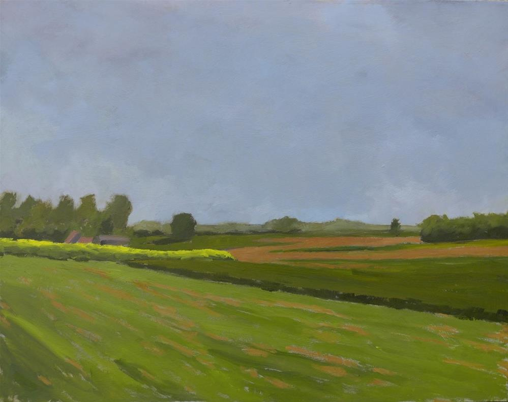 """""""Yellow field on a grey day"""" original fine art by Graham Townsend"""