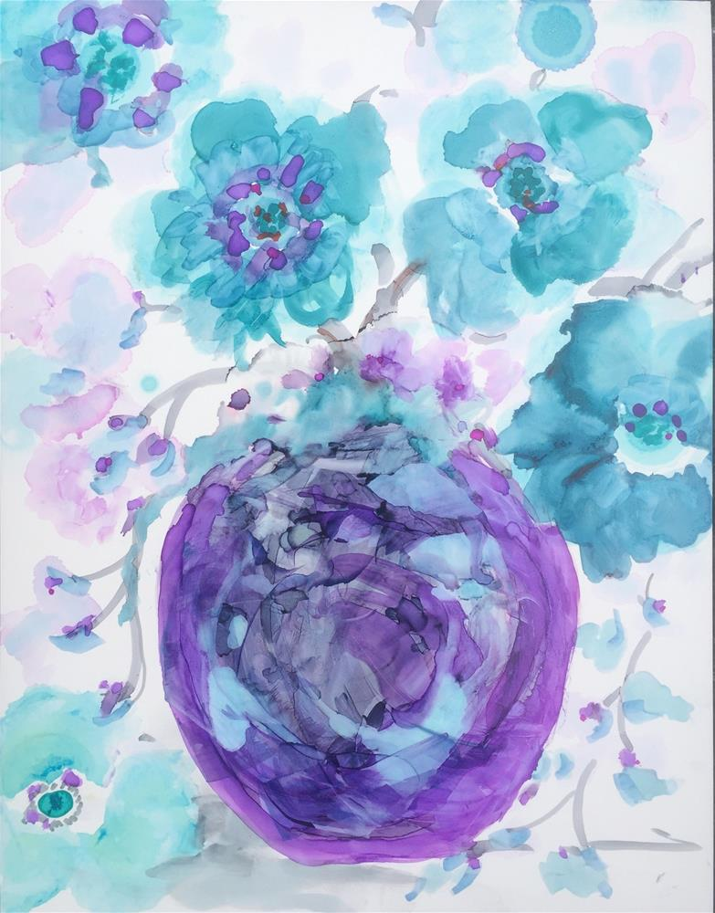 """Inky Plum Blossoms"" original fine art by Kelly Alge"
