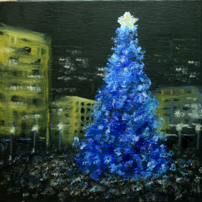 """""""Tree Lighting at the Square"""" original fine art by Jean Nelson"""