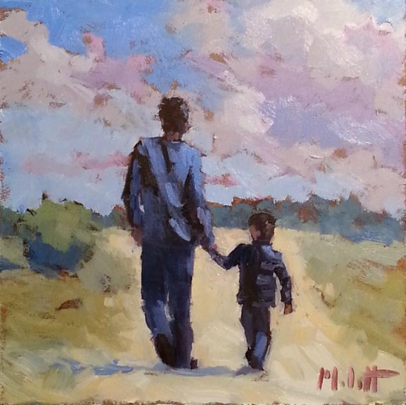 """Father and Son Portrait Original Oil Painting Impressionism Heidi Malott"" original fine art by Heidi Malott"