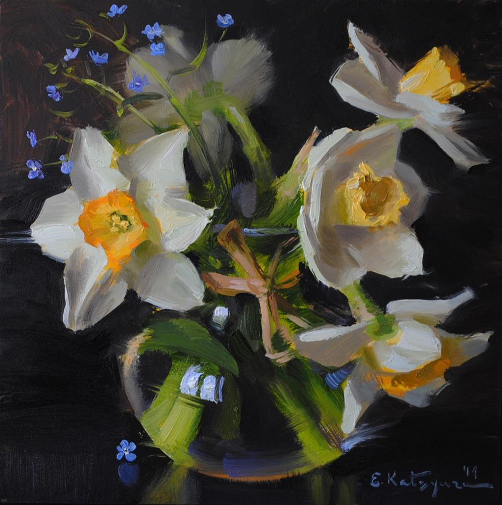 """Daffodils on Black"" original fine art by Elena Katsyura"