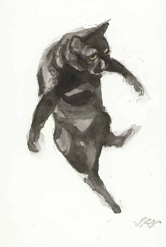 """Daily Cat 162"" original fine art by Jean Krueger"