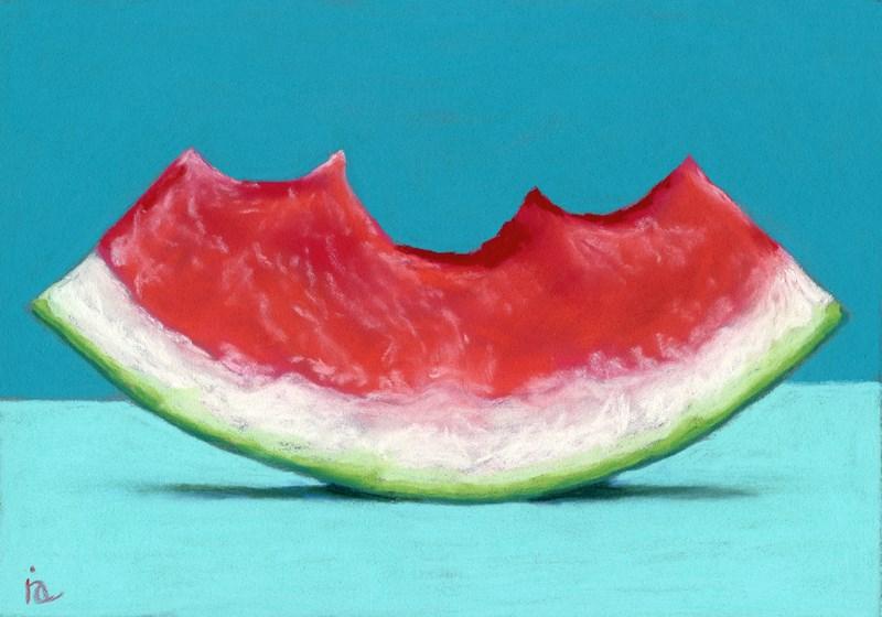 """Three Bites watermelon"" original fine art by Ria Hills"