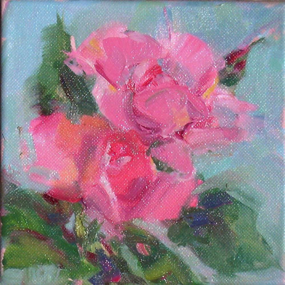 """Rose in Sunlight,still life,oil on canvas,6x6,priceNFS"" original fine art by Joy Olney"