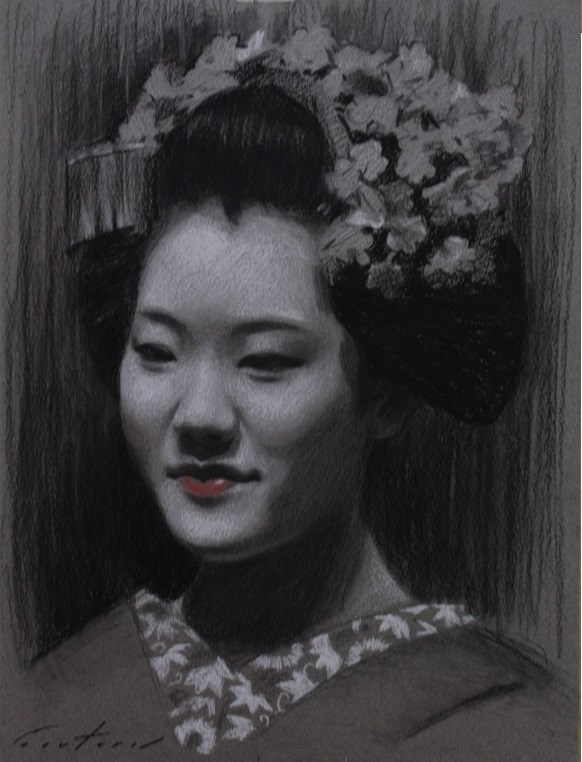 """Maiko Tomitae Charcoal Study"" original fine art by Phil Couture"