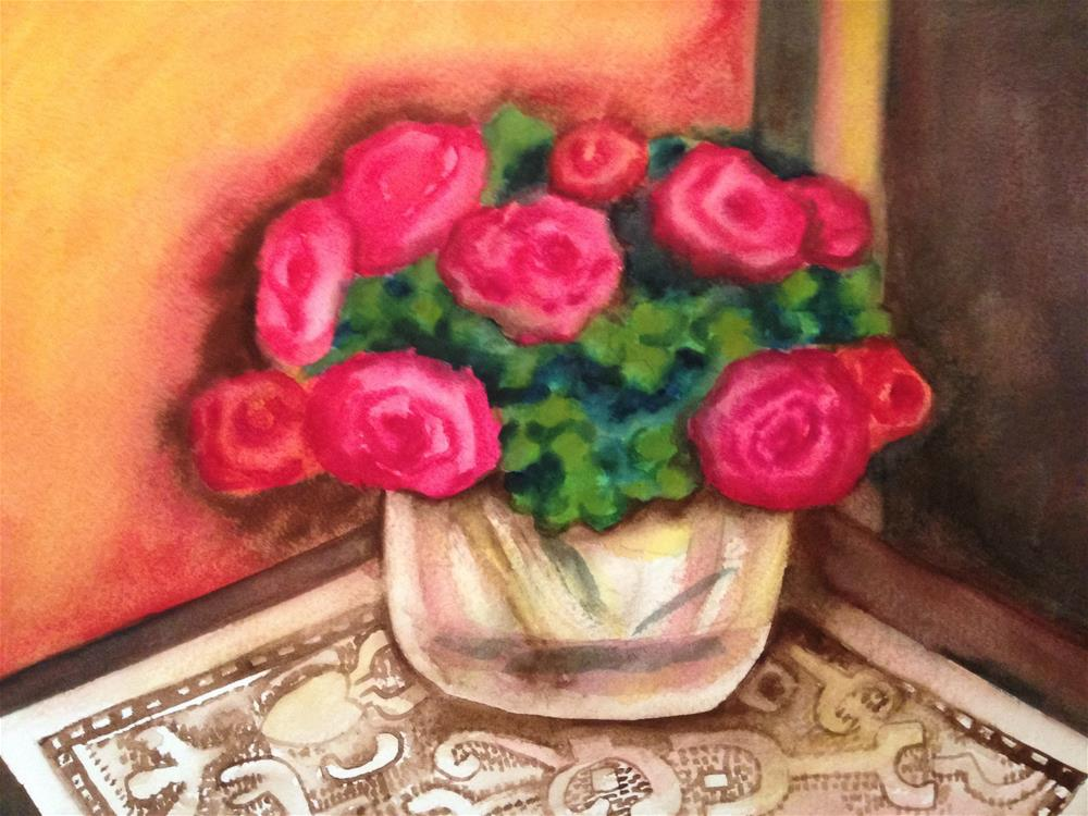 """Roses on an Indian tablecloth"" original fine art by Giovanni Antunez"