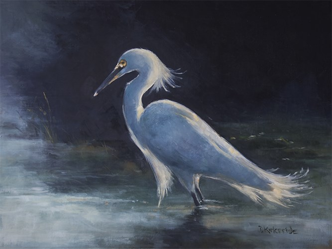 """Tide Pool - Egret Painting"" original fine art by Deb Kirkeeide"