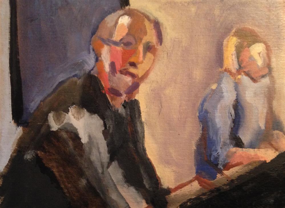 """Maestro Bonnard (The Piano Teacher)"" original fine art by Pamela Hoffmeister"