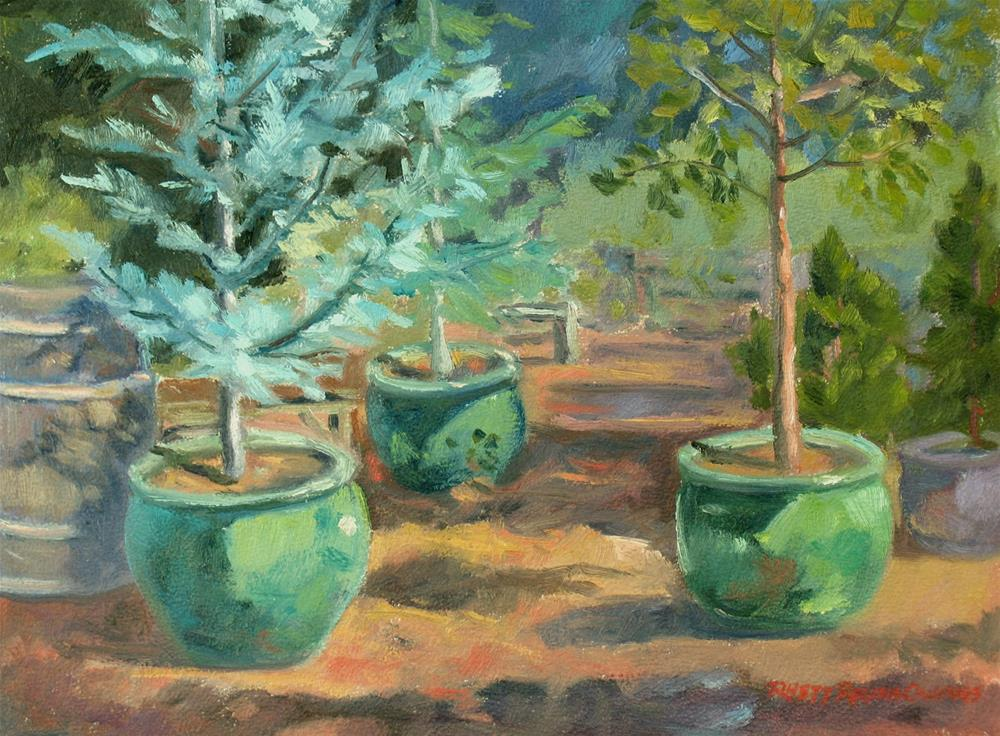 """Green Nursery Pots"" original fine art by Rhett Regina Owings"
