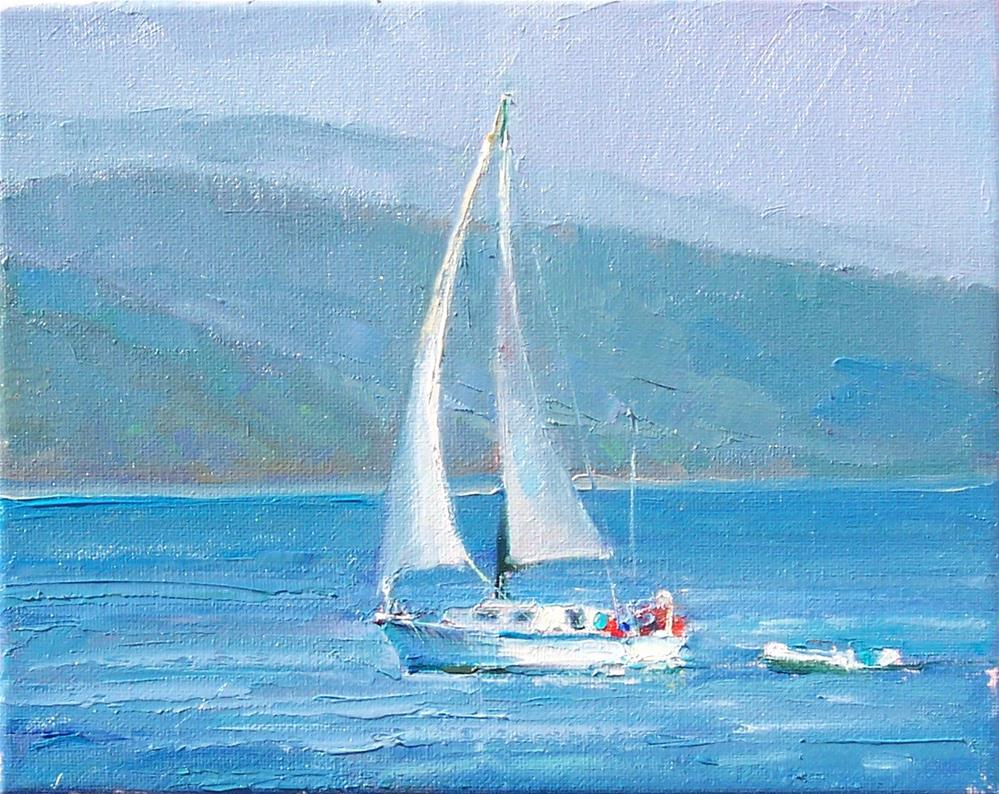 """Another Hazy Day Sailing,seascape,oil on canvas,8x10,price$400"" original fine art by Joy Olney"