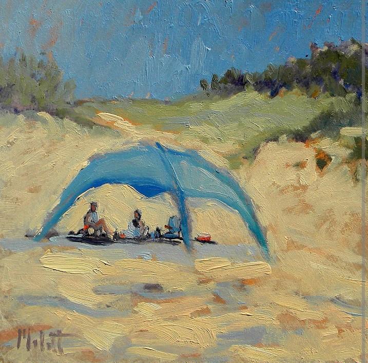 """Beach at the Dunes Lake Michigan End of Summer Painting"" original fine art by Heidi Malott"