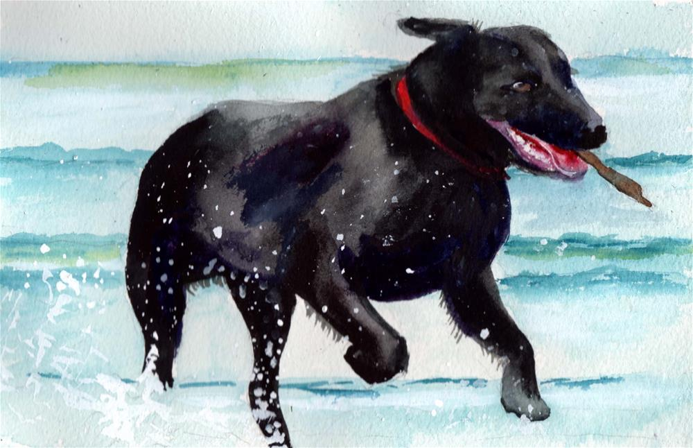"""""""Romping in the Ocean"""" original fine art by Bunny Griffeth"""