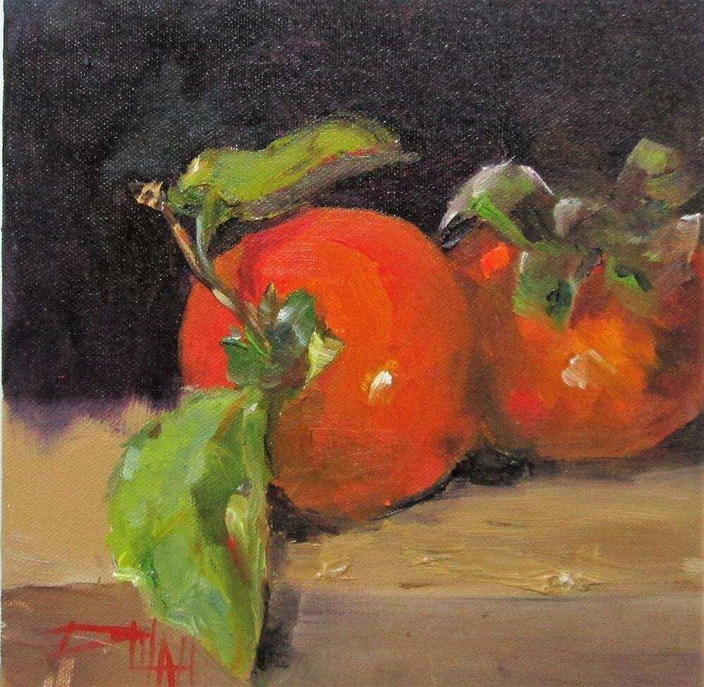 """Persimmons"" original fine art by Delilah Smith"
