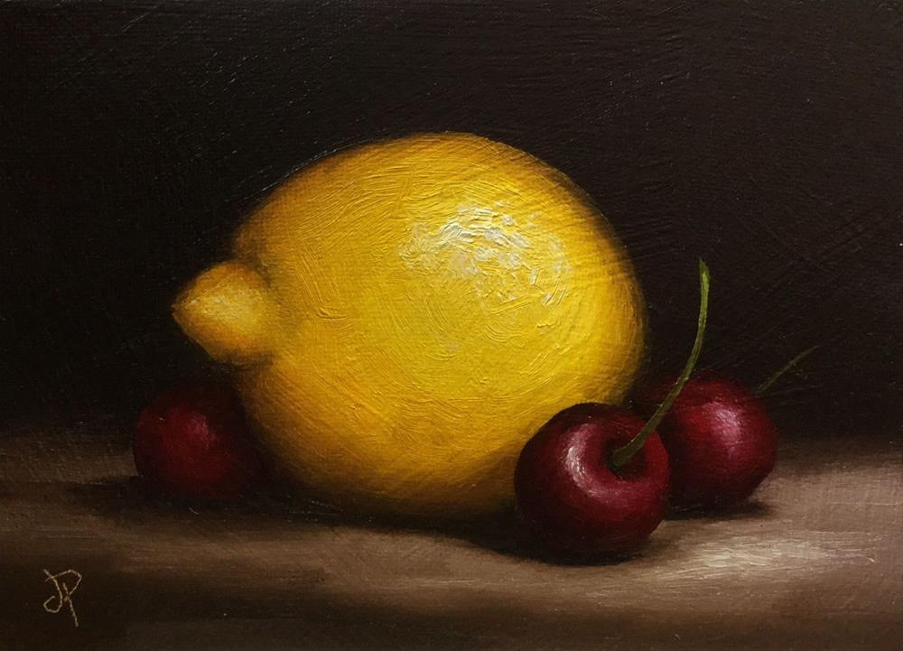 """Lemon with Cherries"" original fine art by Jane Palmer"