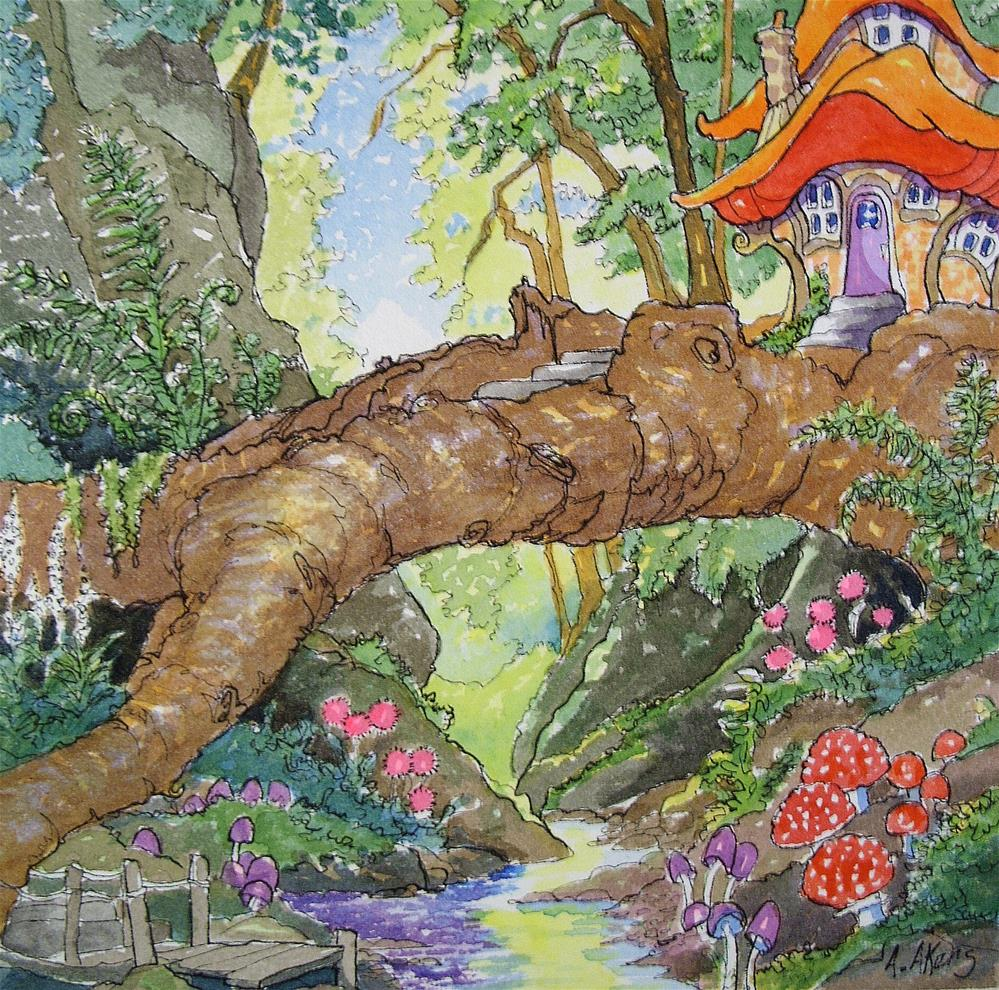 """""""The Recycled Fallen Storybook Cottage Series"""" original fine art by Alida Akers"""